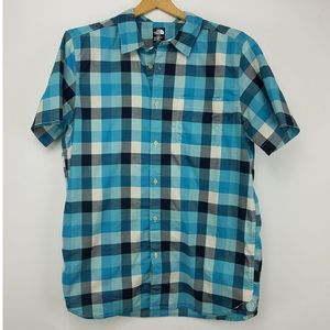 North Face Plaid Button up Blue